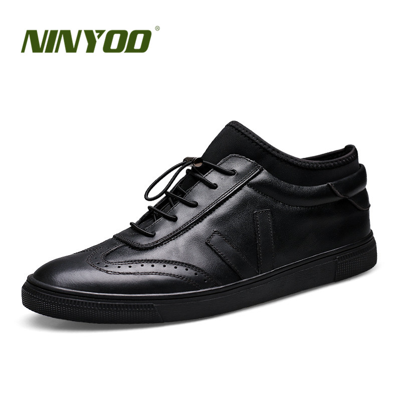 NINYOO New Fashion Men Genuine Leather Shoes Breathable Black Socks Shoes Male Sneakers Zapatos Hombre Casual Shoes Plus Size 48 ninyoo soft fashion men casual shoes genuine leather flats shoes black high quality breathable students shoes plus size 46 47 48