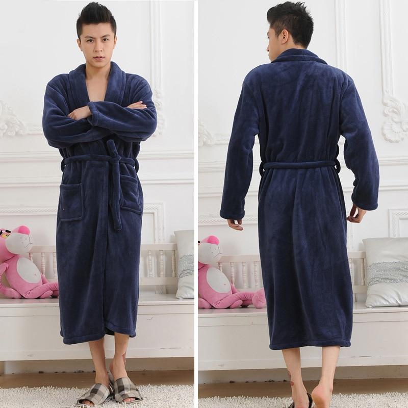 Flannel Bath Robe Men's Pwear 2019 Autumn Winter Solid Plush Couple Men's Soft Bathrobe Thick Warm Female Robes Dropshipping