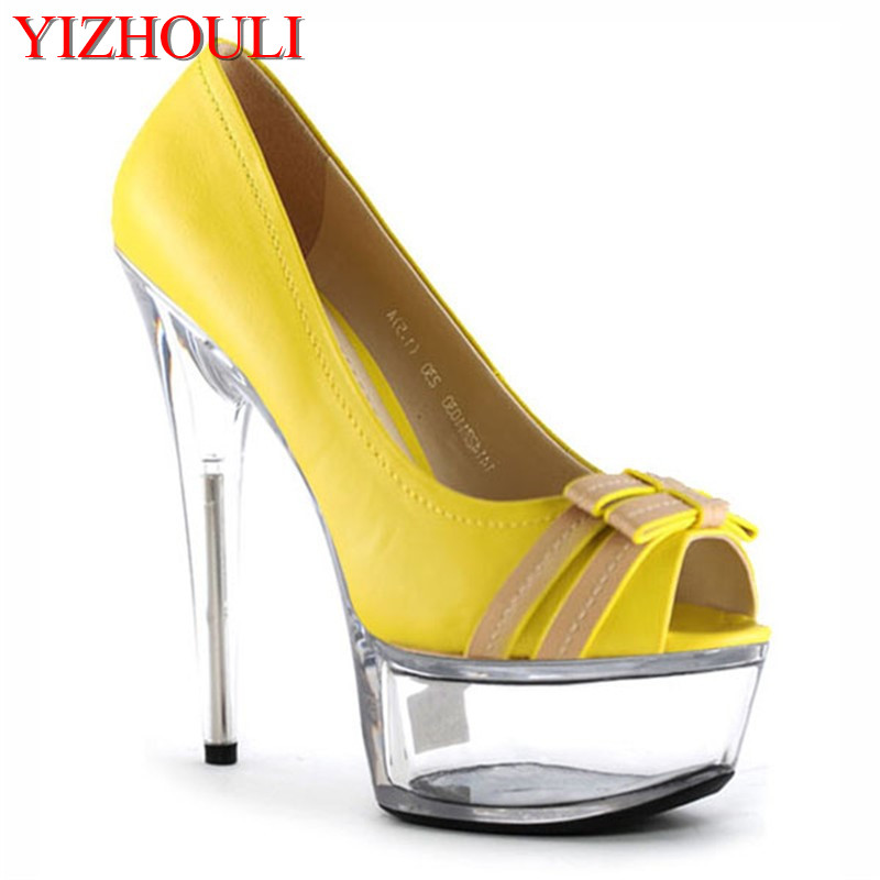 New Arrival 15cm Ultra High Heels Platform Shallow Mouth Shoes Yellow Crystal High-Heeled Shoe Gorgeous High Heels 15cm ultra high heels sandals ruslana korshunova platform crystal shoes the bride wedding shoes
