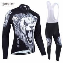BXIO Tiger Printed Cycling Sets Long Sleeve Bicycle Wear Quick Dry Men Bicycle Maillot Ropa Ciclismo Hombre Verano BX-010H030