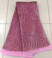 Free shipping (5yards/pc) beautiful pink African sequins lace fabric bling bling French net lace fabric for party dress FNJ46