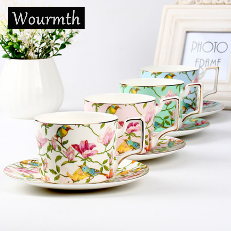 Wourmth 270m lSinple Fashion Ceramic Coffee Cup set European Large Capacity Elegant Red Cup Quality Bone China Cup TeaCup Disc
