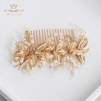 Bavoen Handmade Brides Korean Pearls Hair Combs Gold Peals Hair Sticks Wedding Hair Accessories