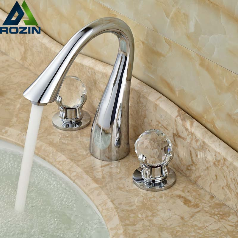 Polished Chrome Double Handle Basin Faucet Deck Mounted Crystal Knob Bathroom Tub Sink Mixer Taps Widespread 3 Holes