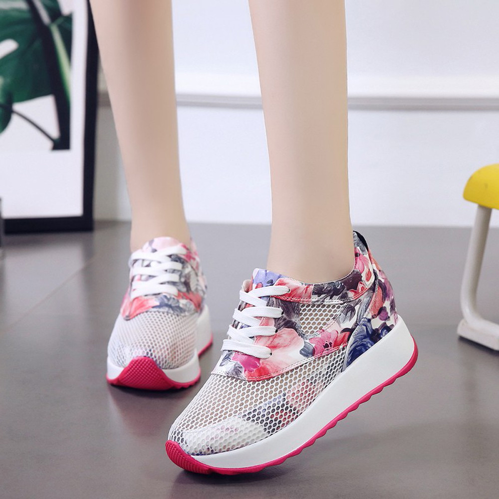 YOUYEDIAN Women Casual Shoes Printed Platform Shoes Breathable Hollow Lace-Up Sneakers Mesh casual shoes for women #L3