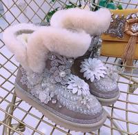 Прилив бренд тяжелых трехмерный цветок со стразами кожаные ботинки внутри Дамы овчины зимние сапоги