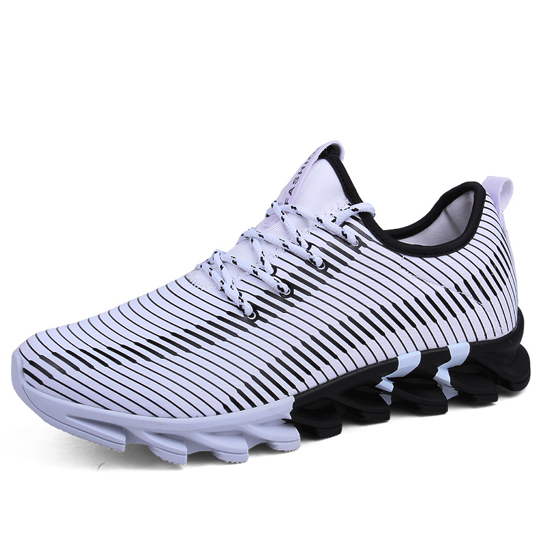 Men Rubber Black White Running Shoes Breathable Mesh Sport Shoes Trekking footwear Walking Male Female Sneakers 44