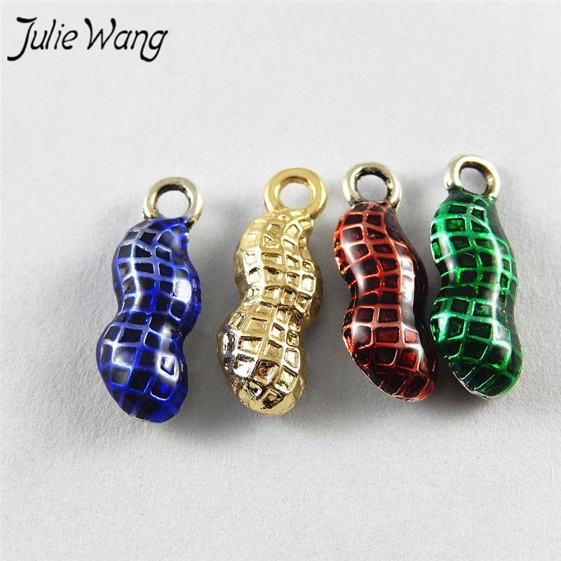 Julie Wang 10pcs Antique Silver Color Based Multi Color Mini Peanut Shape Enamel Alloy Craft Trendy Style Earring Jewelry Making