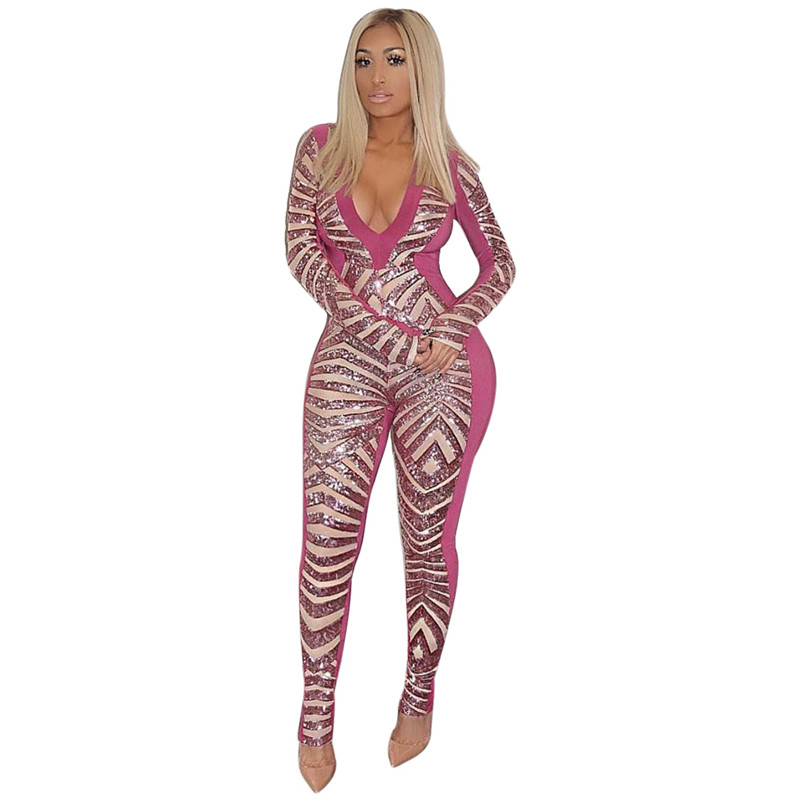 Deep V Neck Sparkly Sequin   Jumpsuit   Women Winter Long Sleeve Bodycon   Jumpsuits   Sexy Rompers Glitter Club Party   Jumpsuits   Overall