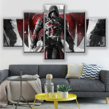 HD 5 Pieces Assassins Creed Canvas Paintings Large Video Games Wall Art Posters Prints Living Room Home Decoration Framework