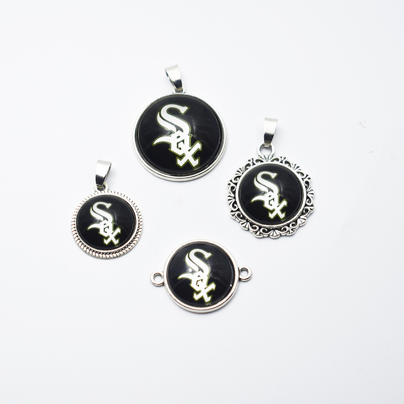 Charm Fewelry Baseball Chicago White Sox Alloy Glass Pendant Charms DIY For Necklace&Bracelet/ Earring Sport Jewelry