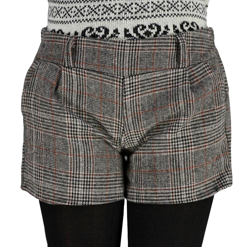 2019 New Female New Autumn Winter Shorts Plaid Thick Woolen Women Slim Thin Short Pants Designer Plus Size Loose Cotton Shorts