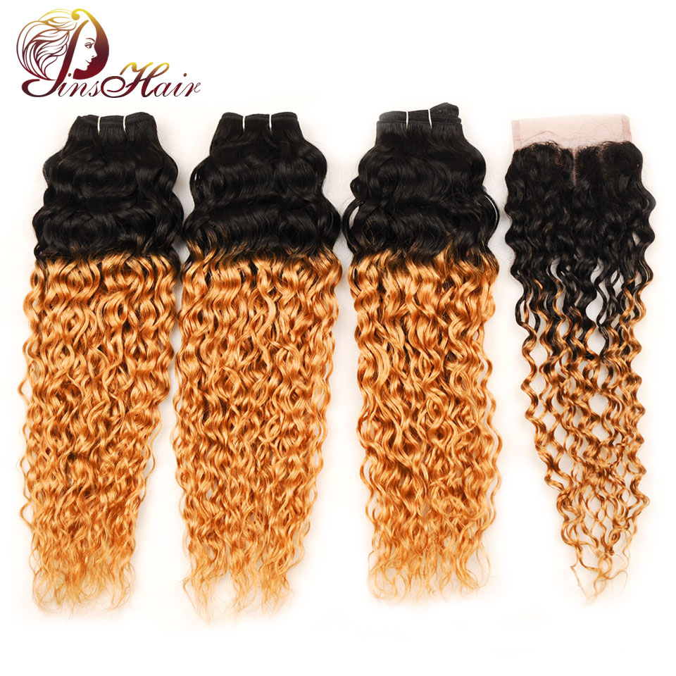 Pinshair Ombre Brazilian Water Wave Hair 1B 27 3 Bundles With Closure Ombre Wet Wavy Human Hair Extension With Closure Non-remy