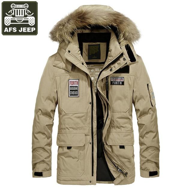 3058761149b81 Chaqueta de invierno de la marca hombres militar chaquetas Abrigo con  capucha cuello de piel gruesa