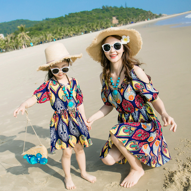 Beach Family Style Set Bohemian Off Shoulder Mother Daughter Dress Mom and Daughter Dresses Clothes Family Clothing Summer GS401