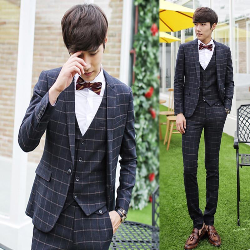 Blackgrayengland Style Suit Sets Plaid Male Formal Dress Slim