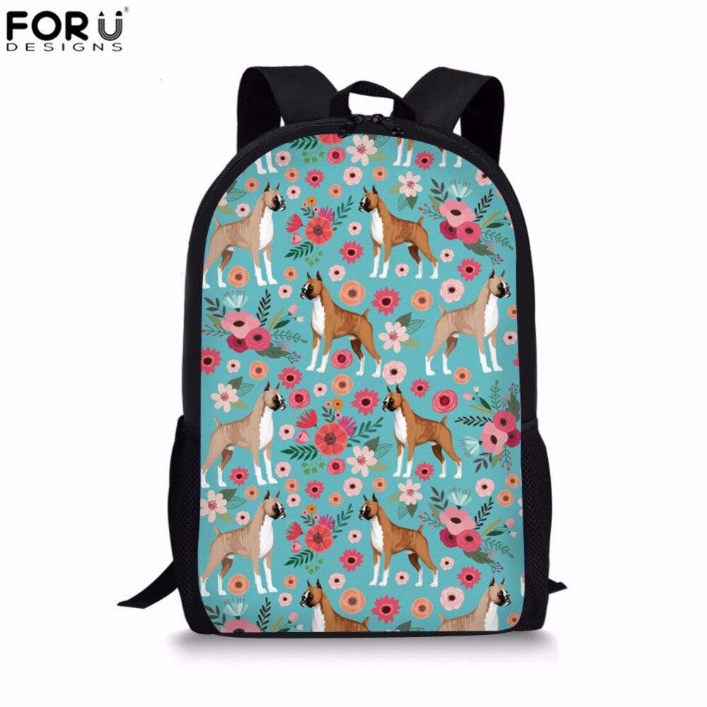 FORUDESIGNS/детские школьные сумки боксер Цветочный принт дети мешок 16 дюймов основной школьный рюкзак для девочек Mochila Escolar Bolsa