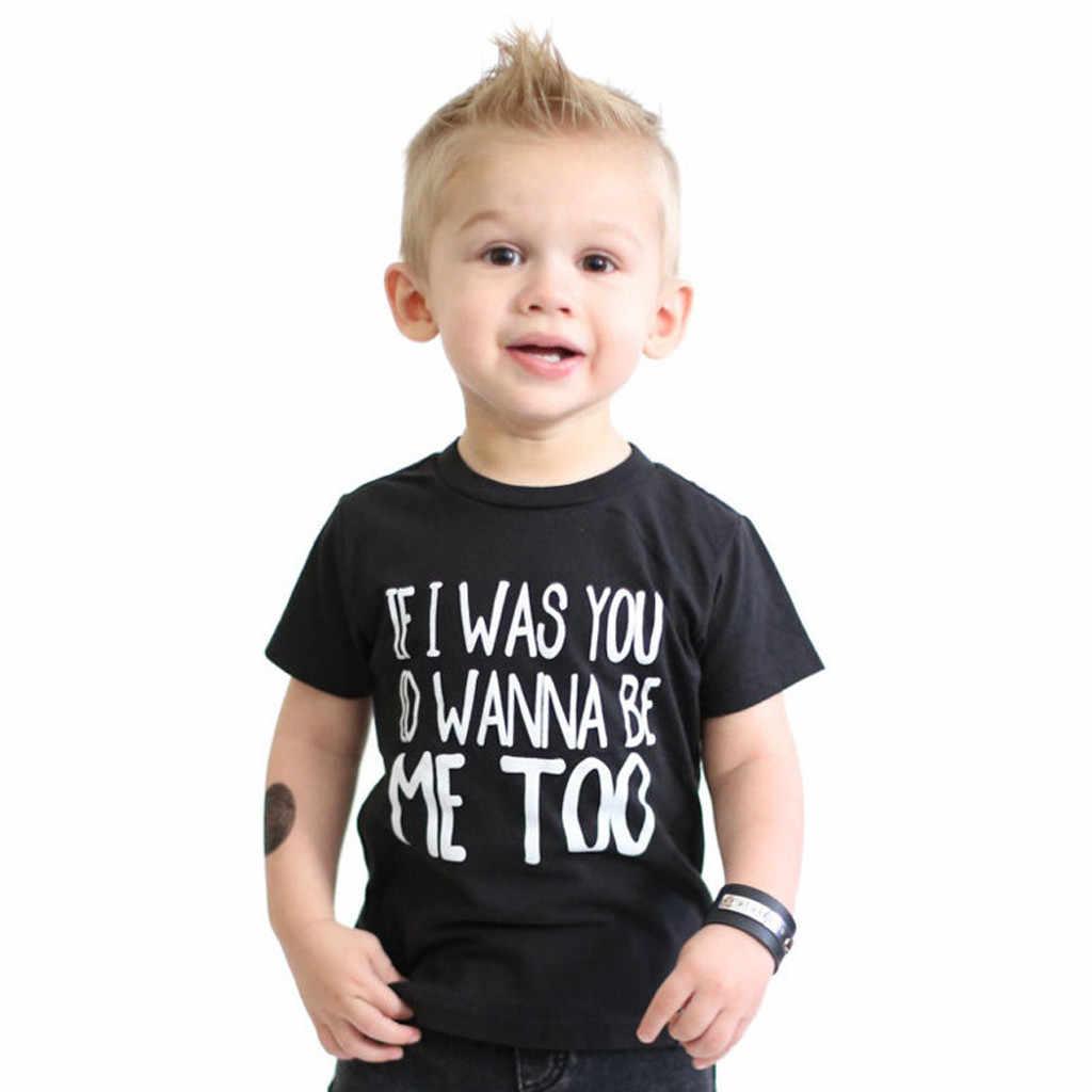 ZHDAOR Letter Printed Newborn Baby Kids Boy Girl Letter Cartoon Shirt Sleeve Tee Tops Clothes O-Neck Tops Summer Hot W#5