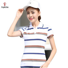 2017 New Women's Polo Shirts Short Sleeve Summer All-Match Fashion Female Women Polo Shirt Brand Striped Slim Polos YY696