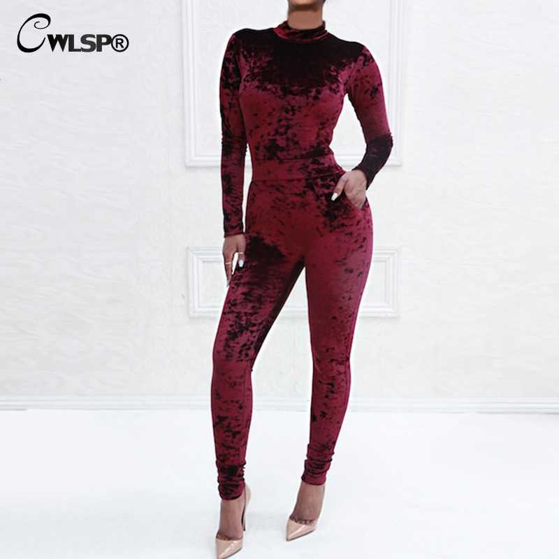 002db6260fc CWLSP 2018 New Spring High Neck Bodysuit With Packet Women Sexy Hollow Out Jumpsuit  Slim Gold