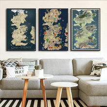 Game of Thrones Westeros Map Art Large Art Poster Canvas Painting Wall Picture Home Decor Posters and Prints(China)