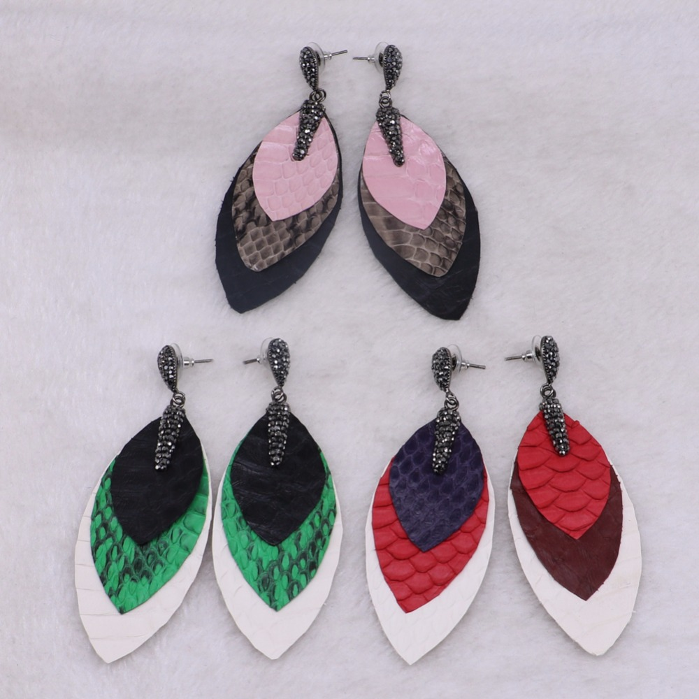 4 Pairs Mix color snakeskin leather earrings leaf shape earrings soft jewelry earrings high quality earrings to gift3335