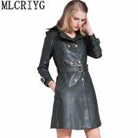 2019 High Imitation Sheepskin Coat Leather Jacket Women Long Slim Women's Spring Jackets Trench Female Belt chaqueta mujer YQ063