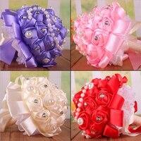 1 Pcs Calor Flores Artesanais de Casamento Buquês de Noiva Buquê de casamento decoração Pérola do Diamante Frisado Mão Da Flor Artificial Personalizado