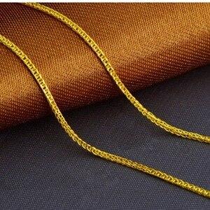 """Image 3 - 18K الصلبة الذهب رولو سلسلة قلادة للنساء 16 """"18"""" 20 مضمونة 18KT الذهب الخالص 1 مللي متر ربط قلادة لوبستر المشبك الإناث"""