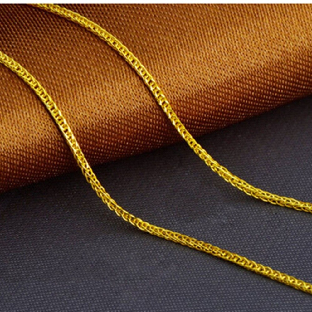 Image 3 - Fine Au750 Real 18K Yellow Gold Chain Women Wheat Link Necklace 18inch-in Necklaces from Jewelry & Accessories