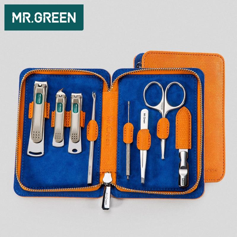 MR GREEN 8PCS set Nail Art Manicure Tools Nails Clipper Scissors Tweezer Knife Manicure Sets