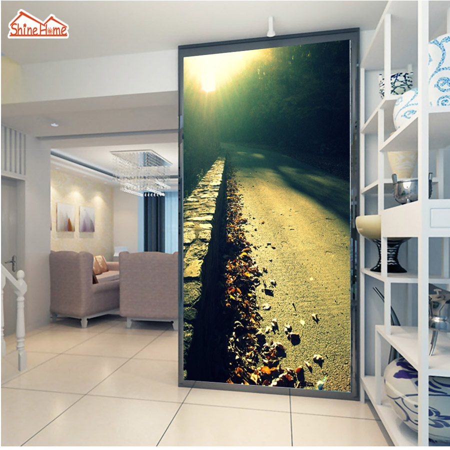 ShineHome- Large Mural Road Sunrise Landscape 3D Living Room Photo Wallpapers Natrue Wall Mural Washable-Wallpaper Stereoscopic vintage card holders women wallet clutch wallet womens wallets and purses leather purse for the girls coin purse carteras mujer
