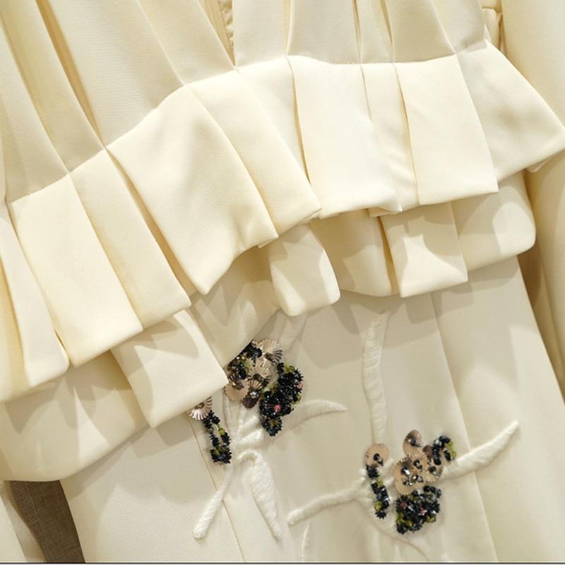 Haute Vintage Robes Multi Été Robe Perles Nouveau Paillettes Ruches Cou Piste V Printemps Broderie 2019 Beige Femmes Designer Qualité gqww4z0X