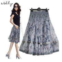 2014 FREE SHIPPING Grace Women S Bust Skirt Plus Size Print Lace Bohemia Medium Skirt Beautiful
