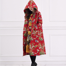 National Wind Printing Women Winter Cotton Padded Jacket Thick Cotton Hooded Parka Coat Windbreaker Ethnic Chinese