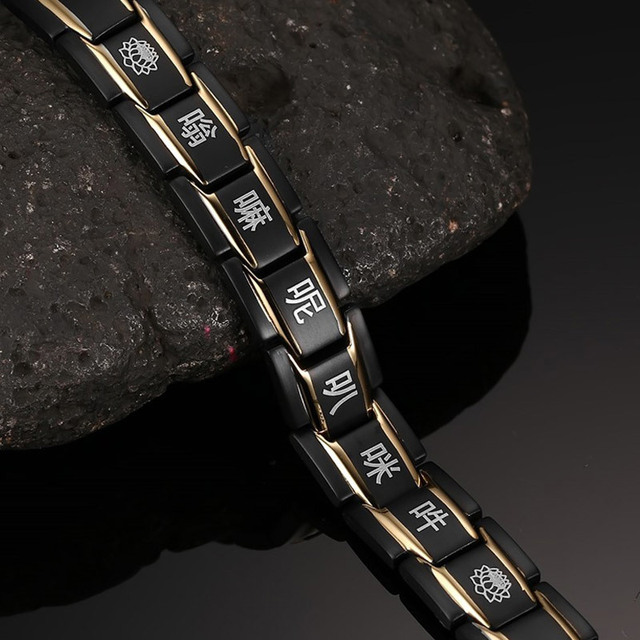 Magnetic Health Care Black Bracelet Engraved with Chinese Buddhism signs