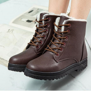 Image 3 - Womens Boots Winter Snow Boots Ladies New Warm Plus Velvet Cotton Shoes Boots Waterproo Martin Boots PU Large Size Cotton Shoes
