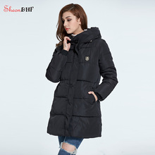 SheonDHF Winter Down Jacket Women Mid-Long Ladies Coat Hooded Cotton Padded Parka Coat Female wadded Jackets 2017 New Arrival