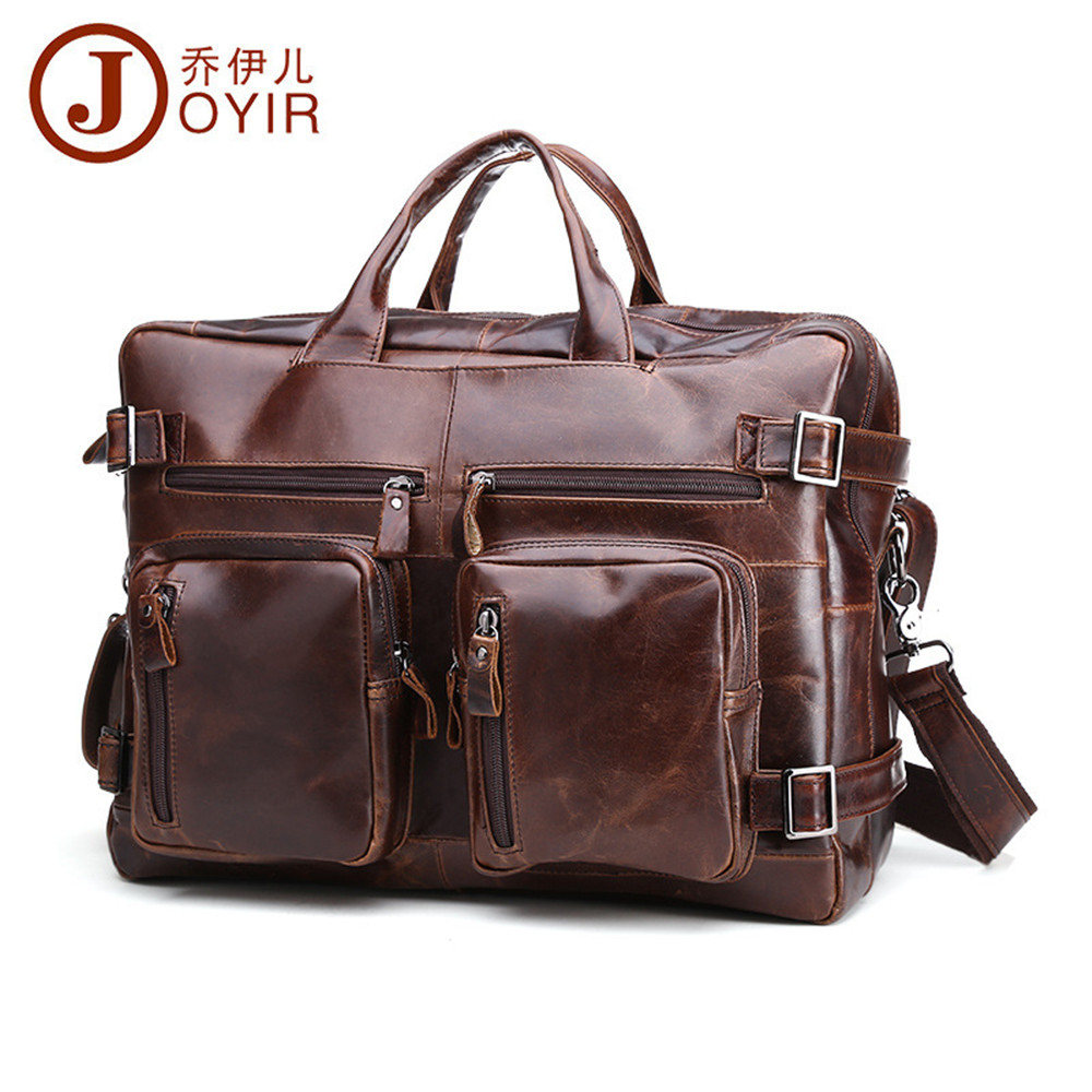 где купить JOYIR 2017 Laptop Bag Business Shoulder Wax Oil Genuine Leather Handbag Crossbody Bag Computer Men Travel Bags 9911 дешево