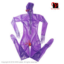 Purple Sexy Full body latex suit Latex Catsuit with butt Condom Gloves feet socks Rubber Penis Sheath stocking plus size XXXL