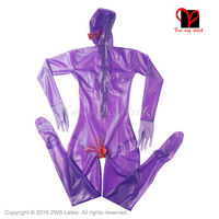 Purple Sexy Full body latex suit Latex Catsuit with butt Condom Gloves feet socks Rubber Penis Sheath stocking plus XXXL LT 015