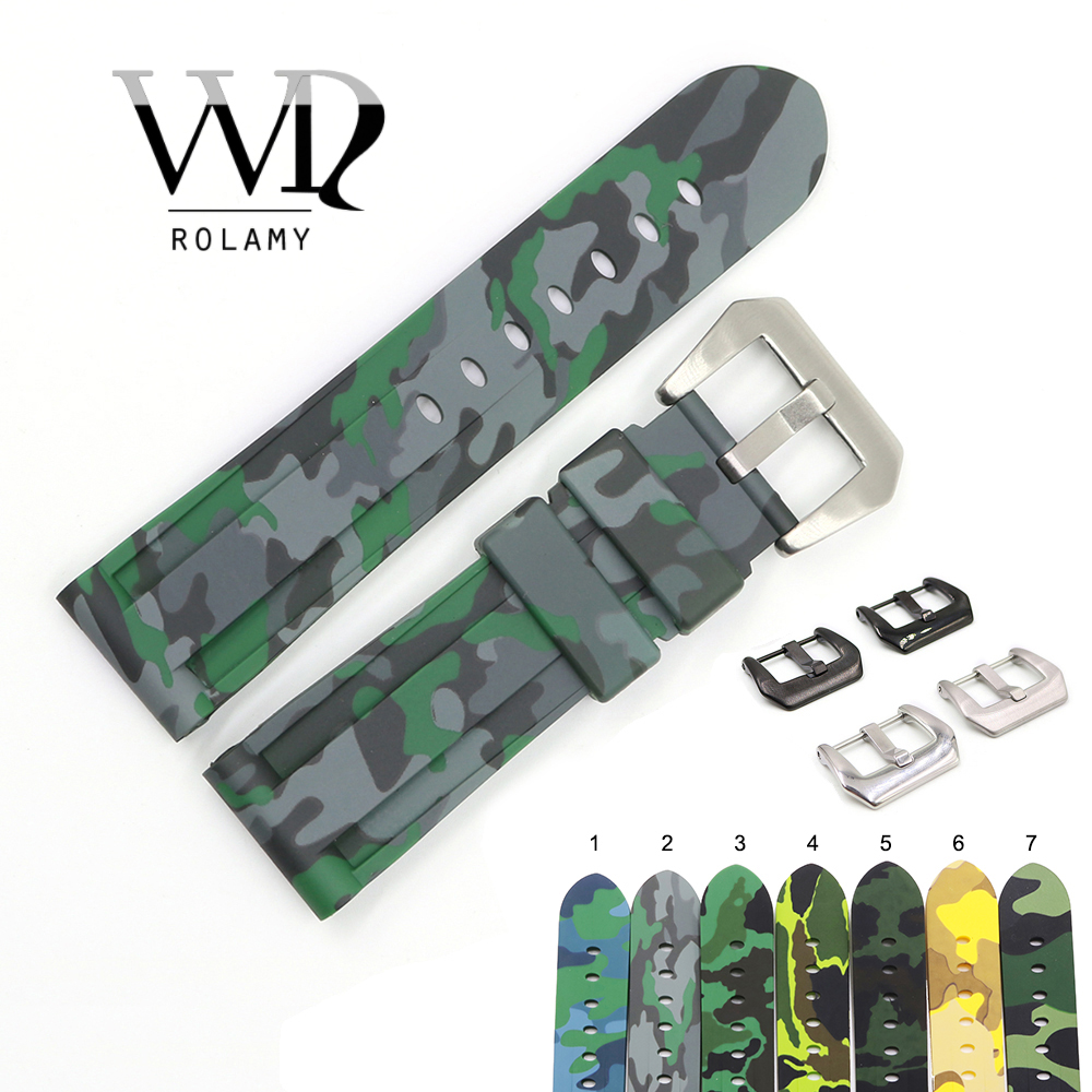 Rolamy 24mm Wholesale Camo Color Waterproof Silicone Rubber Replacement Watch Band Strap Watchband For Panerai Luminor