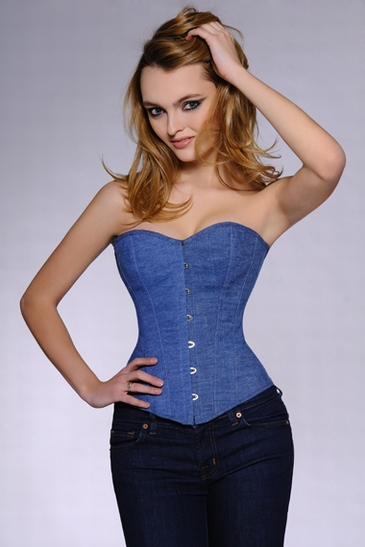 Free Shipping  Plus Size Denim Corset With G String Women -4529