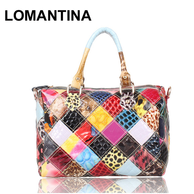 New 2018 Patent Leather Womens Fashion Handbags Snake Print Patchwork Shoulder Cross Body Bag Tote