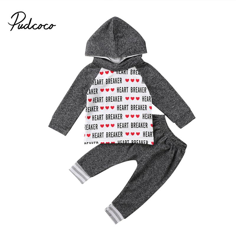 Newborn Infant Baby Boys Long Sleeve Gray Letter Cotton Clothes Hoodie Tops+Long Pants Kids Outfits Sets