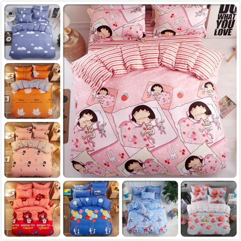 Kids Girl Pink Stripe Duvet Cover 3/4 pcs Bedding Set 1.2m 1.35m 1.5m 1.8m Bed Linens Quilt Case Bedsheet Pillowcase Soft Cotton