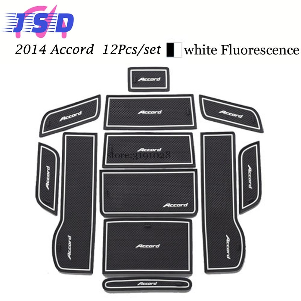Car styling auto decoration parts for honda accord 2014 rubber anti mat non slip mats interior door gate slot pad cup mats