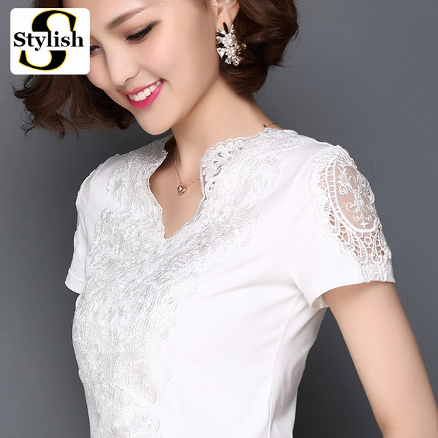 Summer Lace Blouse Office Wear