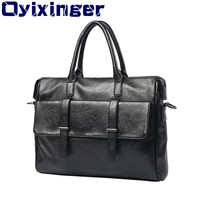 Men's Laptop Briefcase Bag Fashion Mens Business Bags Genuine Leather Messenger Bag For Macbook Air Case Male Computer HandBags
