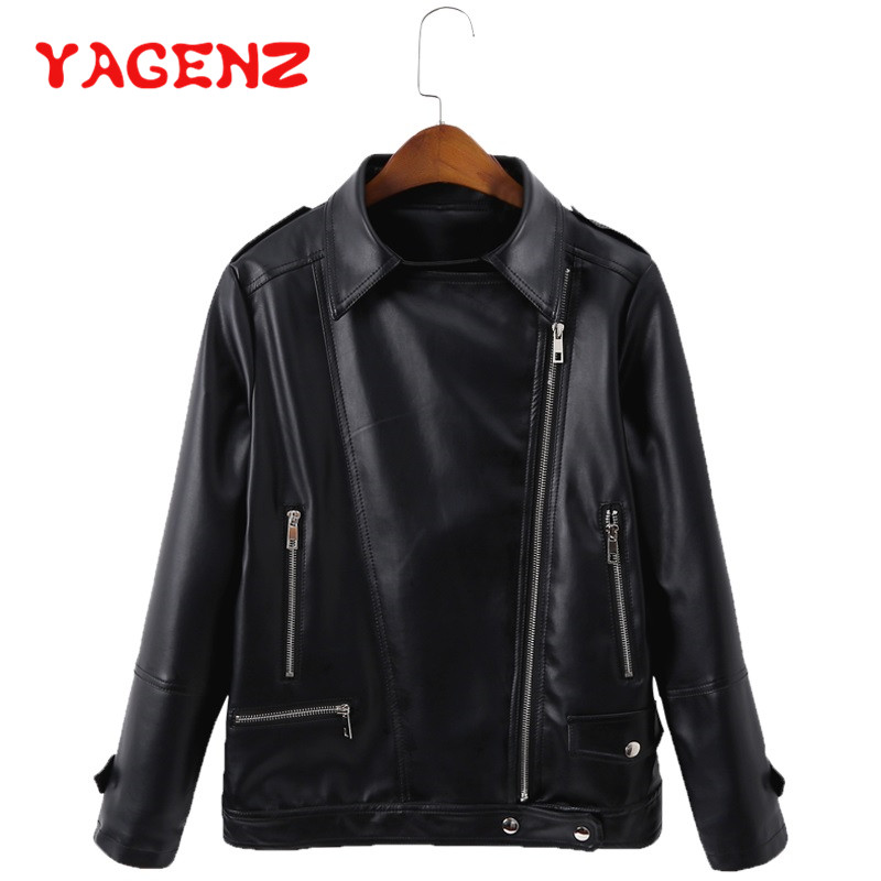 YAGENZ Oversized   Leather   Jacket Women Short Coat 6XL 7XL Spring Autumn Coat Womens lapel Jacket Chaqueta Mujer   Leather   Coat 285